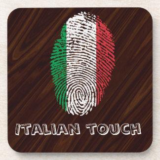 Italian touch fingerprint flag drink coaster