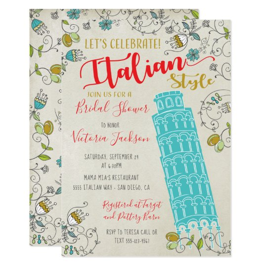 Italian Tower Of Pisa Bridal Shower Invitations
