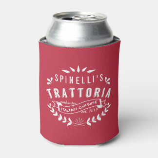 Italian Trattoria Personalized Restaurant Logo Red Can Cooler
