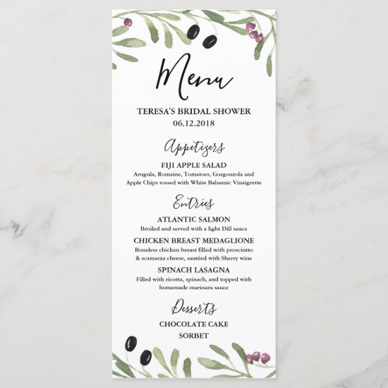 Italian Tuscan Greek Bridal Shower, Wedding Menu