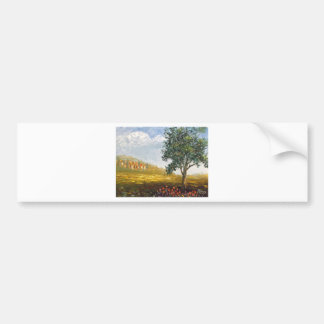 Italian Tuscany village with poppies Bumper Sticker