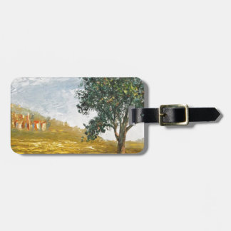 Italian Tuscany village with poppies Tag For Bags
