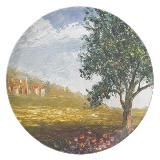 Italian Tuscany village with poppies Plates