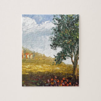 Italian Tuscany village with poppies Puzzle