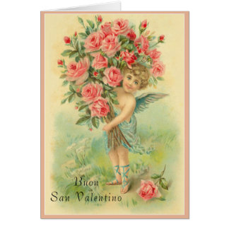 Italian Valentines Day Angel with Roses Card