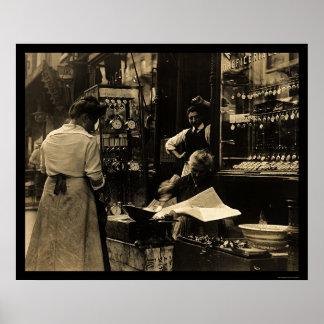 Italian Watchmaker in New York City 1912 Print