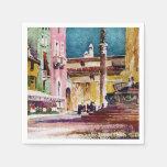 Italian Watercolor Piazza Disposable Napkins
