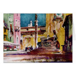 Italian Watercolor Piazza Greeting Card