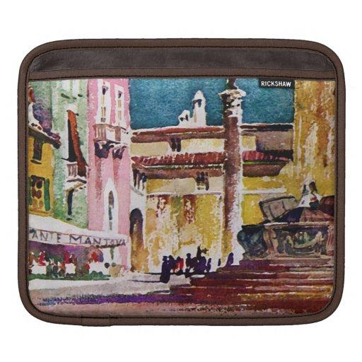 Italian Watercolor Piazza iPad Sleeve