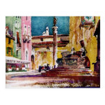 Italian Watercolor Piazza Postcard