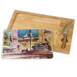 Italian Watercolor Piazza Rectangular Cheese Board