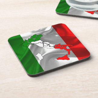 Italian waving flag beverage coaster
