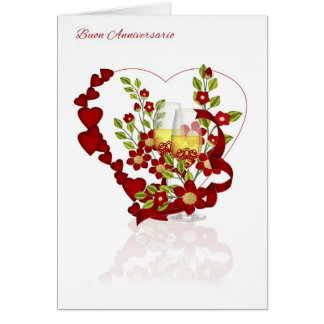Italian Wedding Anniversary With Champagne Flowers Card
