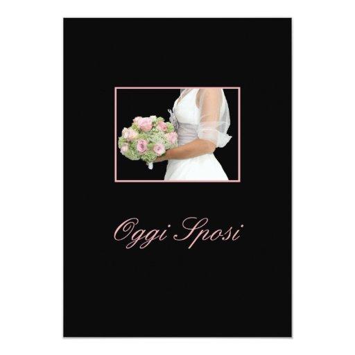 "italian wedding invitation bride with bouquet on b 5"" x 7"" invitation card"