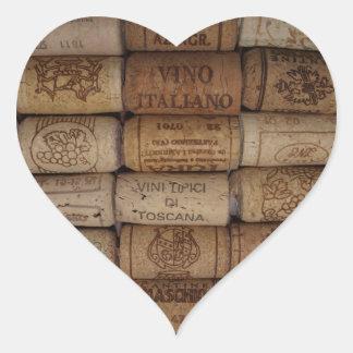 Italian Wine Cork Collection Heart Shaped Sticker