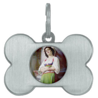 Italian Woman Painting Pet ID Tags