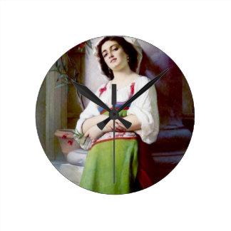 Italian Woman Painting Round Clock