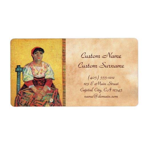 Italian Woman portrait painting  Vincent van Gogh Shipping Label