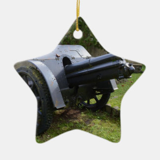 Italian World War Two Howitzer Double-Sided Star Ceramic Christmas Ornament