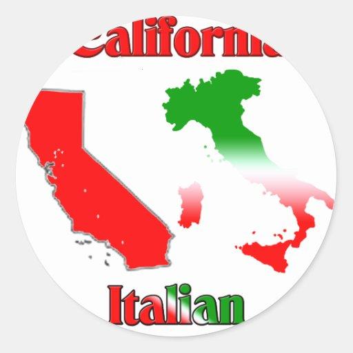 Italiano de California Pegatinas Redondas