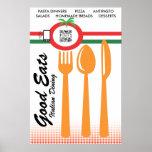 Italiano de cena casual de la plantilla del poster