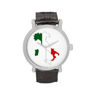 italiano de la forma del mapa de la bandera de relojes de mano