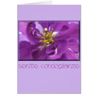 italiano de la tarjeta de condolencia del larkspur