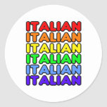 Italiano del arco iris pegatina redonda
