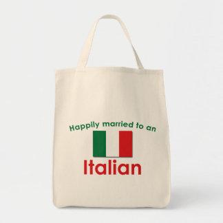 Italiano feliz casado bolsa tela para la compra