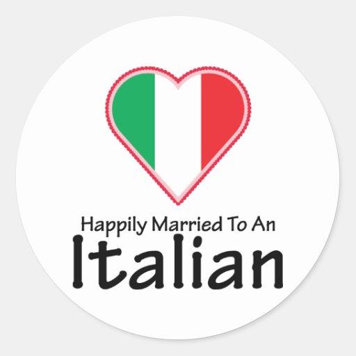 Italiano feliz casado pegatina redonda