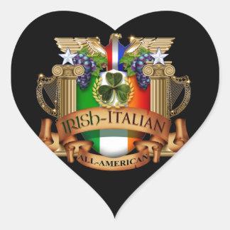 Italiano irlandés todo americano pegatina en forma de corazón