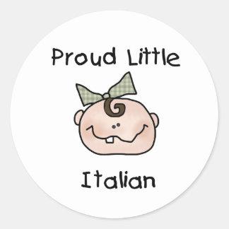 Italiano orgulloso del chica pequeño pegatina redonda