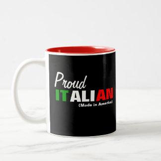 Italiano orgulloso taza de dos tonos