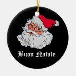 Italiano Papá Noel #2 Adorno Navideño Redondo De Cerámica