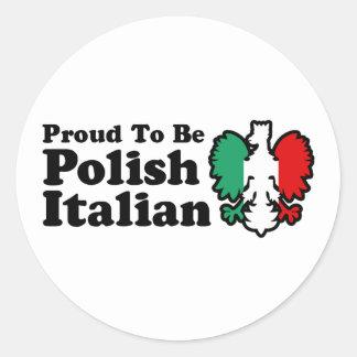 Italiano polaco pegatina redonda