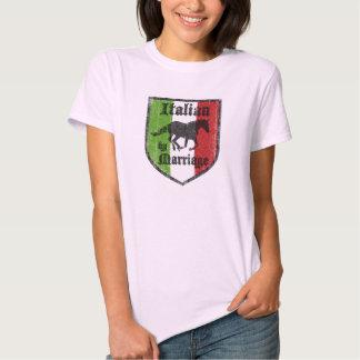 Italiano por la camiseta para mujer de la boda polera