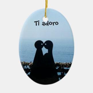 Italiano Riviera, ornamento del navidad de Adoro Adorno Navideño Ovalado De Cerámica
