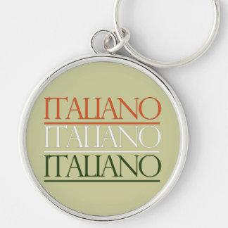 Italiano Silver-Colored Round Keychain