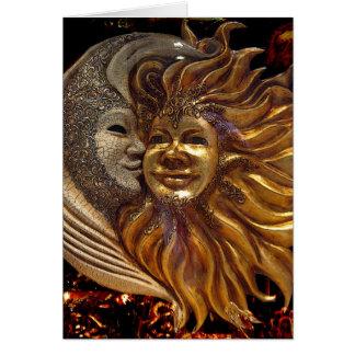 Italiano Sun y máscaras de Carnaval de la luna Tarjeta