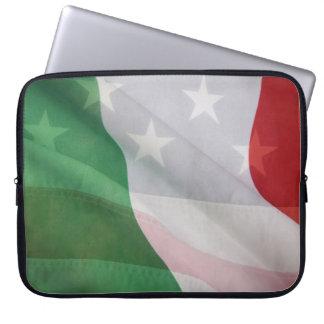 Italiano y banderas de los E.E.U.U. Mangas Portátiles