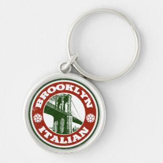 Italianos de Brooklyn Nueva York Llavero Redondo Plateado