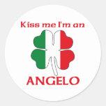 Italianos personalizada me besan que soy Ángel Pegatinas Redondas