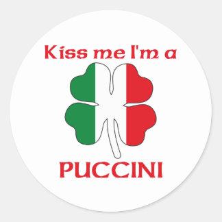 Italianos personalizada me besan que soy Puccini Etiquetas Redondas