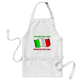 Italians And Wine, Improve With Age Adult Apron