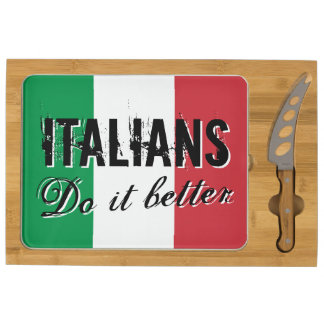 Italians do it better cheese board with Italy flag