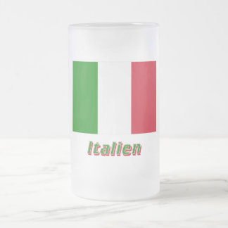 Italien Flagge mit Namen 16 Oz Frosted Glass Beer Mug