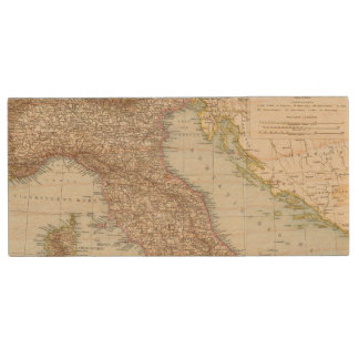 Italien nordliche Halfte, Map of North Italy Wood USB 2.0 Flash Drive