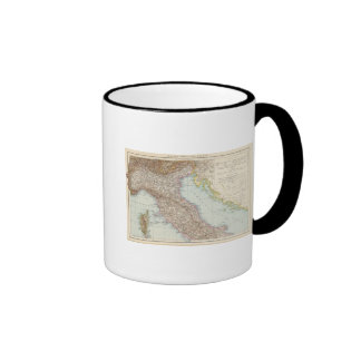 Italien nordliche Halfte, Map of North Italy Ringer Coffee Mug