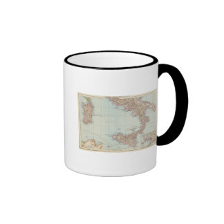 Italien sudliche Halfte, Map of South Italy Ringer Coffee Mug