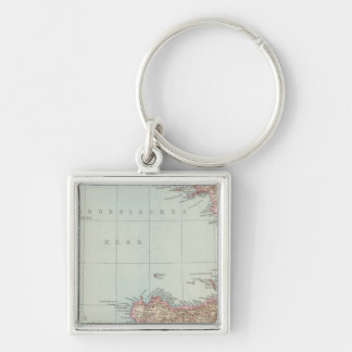 Italien sudliche Halfte, Map of South Italy Silver-Colored Square Keychain